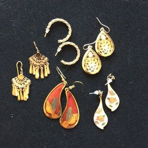Bundle of 5 Gold-toned Earrings